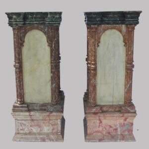 15-25720, Exceptional pair of painted architectural pedestals, polychrome marbleized paint, 1850-75. $6,850