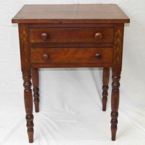 31-22549, PA cherry Sheraton 2 drawer stand turned legs stenciled floral designs. $1,695