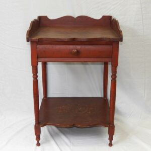 15-25369, Sheraton turned leg 1 drawer washstand, scalloped gallery and front, red paint, Lebanon Co. ,PA,  mid 19th century. $775