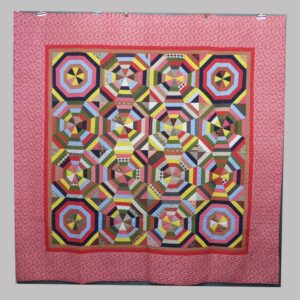 16-26711, Patchwork quilt graphic octagonal panels, fine condition, Late 19th century, Berks Co., PA. $695
