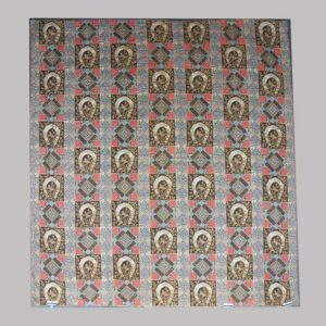 16-26678, Mid 19th century quilt, rare painted fabric, good luck horse shoes and geometric design, Montgomery Co., PA. $2,750