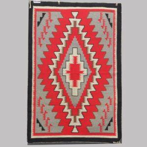 16-27093, Native American woven rug, graphic 4 color design. $975