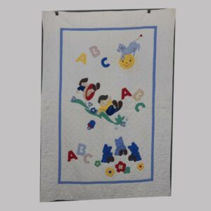 27-16254, 1920's crib quilt patchwork children, cow jumping over moon, rare border. $450