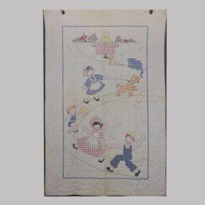 22-3748, 1920,s patchwork crib quilt animals, children, house etc.. $375