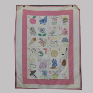 26-15206, Unusual crib quilt, ABC's patchwork pictorial, Lehigh Co., PA, 1920-30's. $595