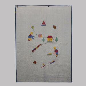 23-9648, Childs quilt patchwork, needlework train border, 1920-30's. $500