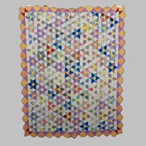 21-8750, 1930's field of stars pierced patchwork quilt, 2 color border. $440