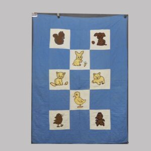 27-16246, 1920-30's crib quilt patchwork and needlework animals. $245