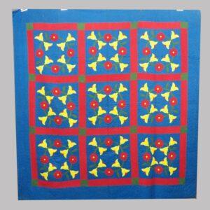 30-21667, Applique quilt PA probably Lancaster Co., blue ground 3 color floral square pattern, 1890-1910. $1,950
