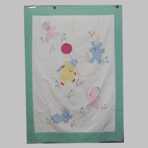 27-16247, 1920's crib quilt patchwork and needlework teddies. $285