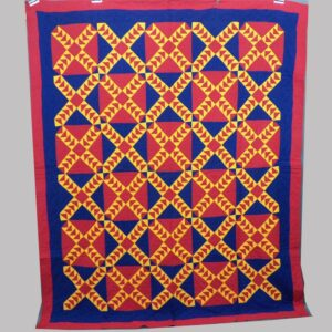 27-16252, Graphic patchwork quilt blocks flight of geese, solid blue, red and orange, fine condition. $1,975