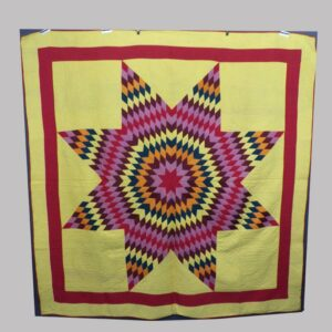 15-25083, Lone star pattern patchwork quilt multi color graphic star, Lancaster/Lebanon Co., PA. Later 19th century. $1,695