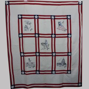 22-3570x, Patriotic patchwork quilt red, white and blue patchwork, Schukill Co., PA. $3,850