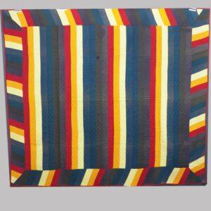 23-10310, Lancaster Co., PA Jacobs coat patchwork quilt, bold 7 solid colors rarer black and purple. $2,850