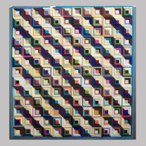 16-27157, PA silks patchwork quilt, graphic log cabin pattern, fine condition, late 19th century. $775