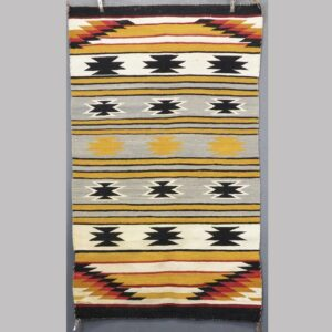 16-27092, Native American woven wool rug, 5 color graphic designs. $650