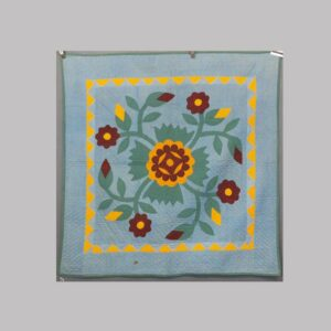 16-26679, Lancaster Co., PA crib quilt, patchwork floral applique, saw tooth border, late 19th century. $2,250