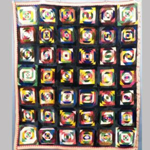 24-11013x, Exceptional graphic crazy patchwork quilt, colorful velvets, various tunnel designs, late 19th early 20th century. $2,750