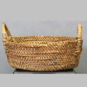 """27-16538, Handled oak splint basket, a wood oak base, some loss, 13 1/2"""" wide. $195"""