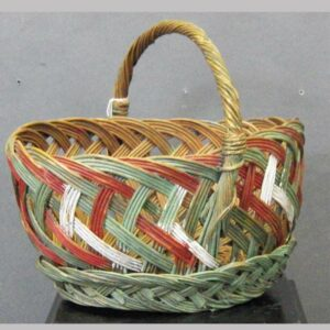 """2-5148, Wicker basket with old paint, green, red and white, 12"""" wide. $240"""
