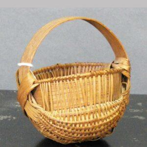 "2-10728, Small oak splint handled basket later 19th early 20th century, 4"" high. $295"