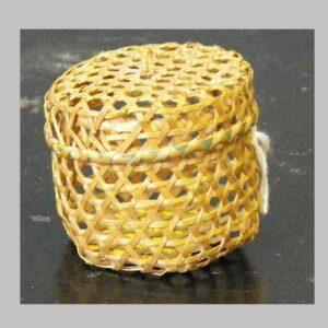 "28-17764,Miniature lidded hexagon weave splint basket, probably New England, 2"" high. $395"