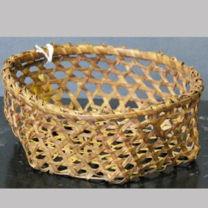 "2-6815, Small size cheese openwork basket oak splint, later 19th century, 6 1/2"" wide. $495"