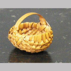"""26-13779, Miniature oak splint basket with handle, probably PA, 1 3/4"""" wide. $395"""