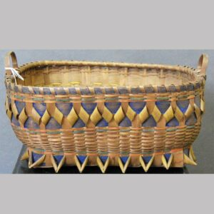 """31-23085, Native American made handled splint basket, fancy raised work, polychrome paint decoration, exceptional condition, 11"""" wide. $550"""