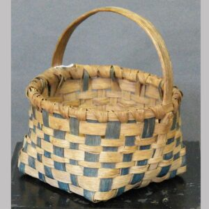 """25-13107x, Oak splint handled basket blue paint decoration, late 19th early 20th century, some loss, 7 1/4"""" wide. $245"""