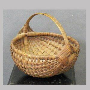 """Oak splint handled basket, half round, 10"""" wide. $"""