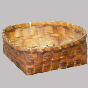 """2-14626, Native American, probably Maine woven splint basket, stamped rosettes decoration, 9 1/2"""" wide. $"""