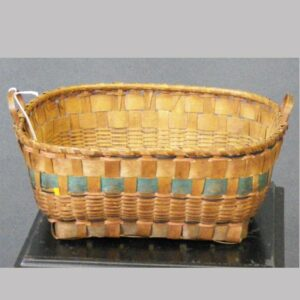 """27-16676x, Maine woven splint basket handled, painted surface, some loss, 10 1/2"""" wide. $325"""