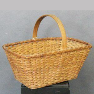 """96-7798x, Oak plint basket unusual wood bottom probably Dauphin Co., PA, 18 1/2"""" wide. $245"""
