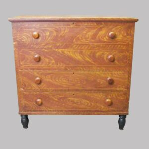 14-23356, New England paint decorated lift lid chest with 2 drawers, original red and yellow paint 1820-40. $2,950