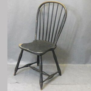20-3833, Bow back Windsor side chair 7 spindle, old black paint, PA. $775