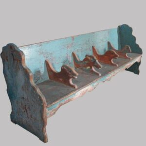 22-5967, Folky child's bench with animal head dividers, possibly a shoe store bench. $3,850