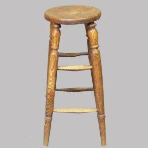 13-22264, Early 19th century oak stool, good turned legs. $295