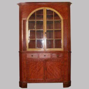 13-22025, Paint decorated corner cupboard 2 part, broken arch glass doors, bracket foot, original paint, Lancaster-York Co., PA. $8,500