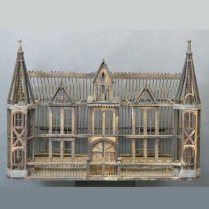 15-25996, Folky Victorian architectural building, bird cage, wood and wire, later 19th century, American. $1,200