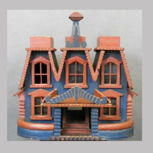 25-12139x, Folky painted wood Victorian house, good color, original paint, Lebanon Co., PA, late 19th century. $2,450