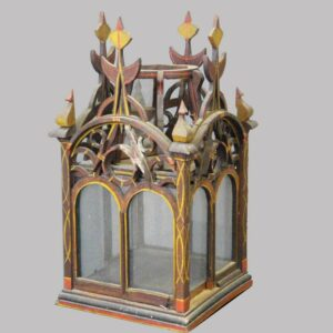 15-25051, Folky painted wood fancy cutout display building/planter, late 19th early 20th century, losses. $395