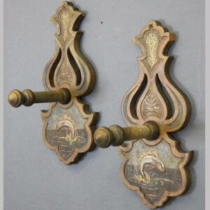 2-11403, Pair of folky wall pegs, painted fish, original surface. $900