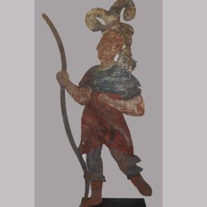 Native American holding bow, unusual early portrayal with unusual headdress, old painted surface, some loss. PA origin. $9,800