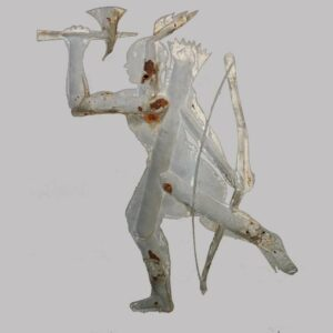 27-15481, Native American weathervane, iron and tin, good detail, Indian in stride with quill and bow, later 19th century. $