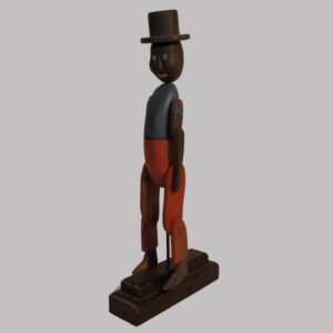 2-14762, Folk art carved whirligig figure of a black gent. with top hat, polychrome painted, 20th century. $395