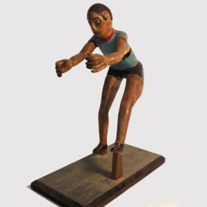 14-24198, Rare folk art figure, wood carving of Jesse Owens, track and field pose, 1930-40's. $1,200