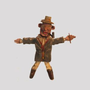 14-23609, Whimsical carving of a man with pipe, painted surface, late 19th early 20th century. $450