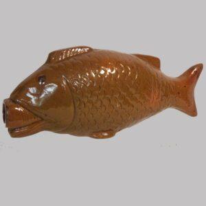 31-23071, PA Redware pottery figural fish flask, good detail, 1850-75. Image