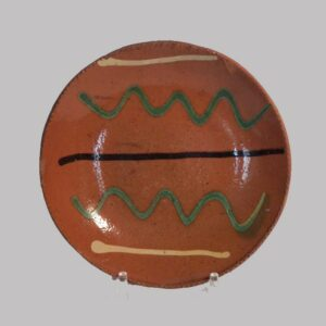 24-11188, 6 in. PA Redware pie plate 3 color slip decoration, probably Berks Co., line Image